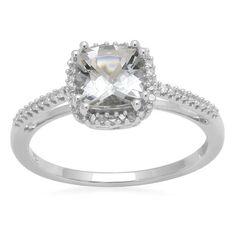 10k White Gold,March Birthstone,Aquamarine and Diamond Cushion Ring,Size 7: Jewelry: Amazon.com