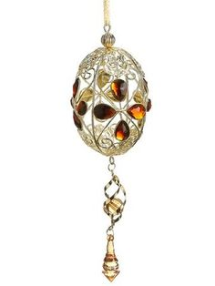 Amber and Gold Filigree Egg Ornaments  - Easter Egg Ornaments