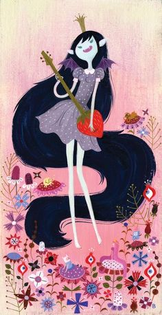 Bat fairy princess playing a strawberry guitar by Brigette Barrager