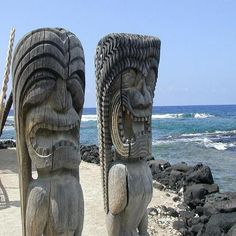 Big Island, Hawaii. Tikis are at the Place of Refuge in Kona.