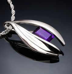 amethyst pendant necklace, February birthstone, purple earrings, statement…