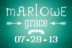 Baby name reveal. Marlowe Grace Christensen