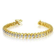 """14k Yellow Gold 2 Ct. """"S"""" Illusion Bracelet. Beautiful complimentary gift box included with this purchase. Setting made entirely with genuine solid 14 karat gold. 30 Day Satisfaction Guarantee."""