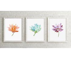 Lotus Flower Watercolor Painting Lotus Art Giclee by Zendrawing