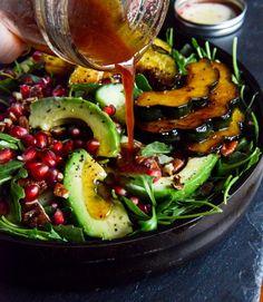 Autumn Arugula Salad with Caramelized Squash, Spiced Pecans and Pomegranate Ginger Vinaigrette