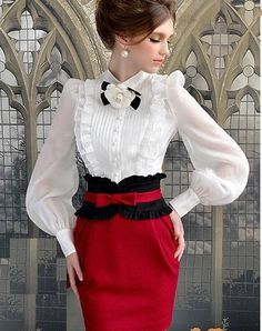 Stylish for SweetAndyLatex Morpheus Boutique - White Chiffon Vintage Style Bow Ruffle Long Sleeve Shirt Lolita Fashion, Hijab Fashion, Fashion Dresses, Vintage Outfits, Vintage Fashion, Vintage Style, Vintage Inspired, Modelos Plus Size, White Chiffon