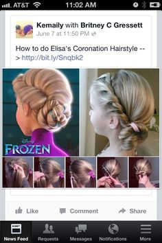 Elsa hair do --- for Grace as a flower girl! :)  Too cute....