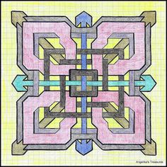 Graph Paper art made by myself Graph Paper Drawings, Graph Paper Art, Geometric Art, Geometric Designs, Grafic Art, Snowflake Stencil, Graph Crochet, Pixel Pattern, Zentangle Patterns