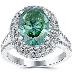 5.33 Carat Fancy Greenish Blue Oval Cut Diamond Engagement Ring 14k White Gold - Green Diamond Rings - Color Rings