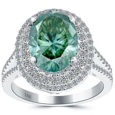 5.33 Carat Fancy Greenish Blue Oval Cut Diamond Engagement Ring 14k White Gold - Green Diamond Rings - Color Rings