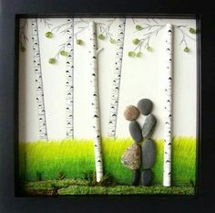 Painted twigs, beads with small wiring for the twigs, a  painted background and rocks and look what you can make with a little imagination. From do-it-yourself decorating ideas on Facebook.                                                                                                                                                     More