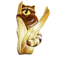 Handmade Art Intarsia en Wall Plaque - Raccoon