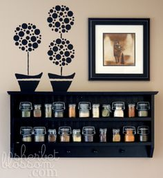 Sherbet Blossom: Project Organize :: My Spice Rack & Pantry.-- one of the cutest spice racks ever? Spice Rack Pantry, Kitchen Spice Storage, Spice Shelf, Spice Jars, Kitchen Organization, Organization Ideas, Storing Spices, Black Shelves, Canning Jars