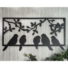 Bits and Pieces - Bird Silhouette Wall Art - Metal Perched Birds Home Décor Accent 3d Wall Art, Wooden Wall Art, Wood Art, Wall Art Decor, Wall Décor, Vogel Silhouette, Bird Silhouette, Outdoor Metal Wall Art, Personalized Wall Art