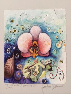 """""""Orchid in the Subconscious Sea"""" by Josephine DeFrancis. Mixed media on paper. www.josephinedefrancis.com Orchids, Mixed Media, Coin Purse, Sea, Paper, Artwork, Work Of Art, Auguste Rodin Artwork, The Ocean"""