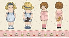 "a SWEET deal!  Buy two, get one FREE!  Purchase this product and you will quickly receive 3 complete panels of the Bakery Jumbo fabric dolls!   Two jumbo fabric Paper Dolls on a panel of fabric about 24 inches x 44 inches.  Stuff-able!  Each doll measures about 16 inches.    What do I do with this fabric? Good question!  The possibilities are rather endless, from quilts, wall, and door hangings, carriers but we love the idea of stuff-able dolls.   **Each doll comes with a front and ""back""…"