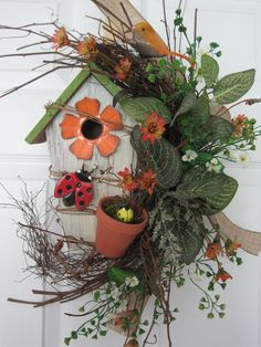 COUNTRY GARDEN BIRDHOUSE- Ladybug Terra- Cotta Planter Spring Summer Arrangement Wreath