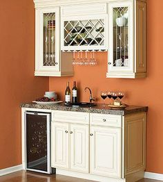 Make existing cabinetry function as a wet bar - think I may have to do this for our sports / bar room in the house! - Decoration for House Wet Bar Basement, Basement Ideas, Dark Basement, Basement Ceilings, Basement Designs, Basement Finishing, Petits Bars, Wine Fridge, Wine Refrigerator
