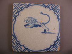 Antique Dutch Delft Tile Animal lion Tiles Rare 17th century  --  free shipping