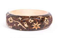 Wooden Bangle April Bird Wood Burnt / Pyrography by PocketsOfArt