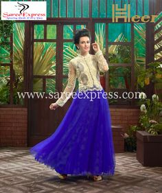White And Blue Soft Net Emboidered Partywear Gown Heer-2