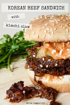 These Korean beef sandwiches with kimchi slaw are a guaranteed hit at your summer party! - Strum Simmer Sip