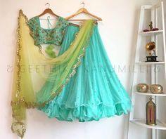 Looking for half saree color combinations ? Check out 21 cool looking half saree designs with trending colors and modern appeal. Indian Lehenga, Half Saree Lehenga, Green Lehenga, Lehnga Dress, Lehenga Blouse, Bridal Lehenga, Anarkali, Jacket Lehenga, Lengha Choli
