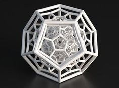 "This is another piece of art created with a ""3D printer"". This shape contains the five Platonic solids in 3D. This is a hyperdodecahedron, a remarkably beautiful object brought to my attention by George Hart."
