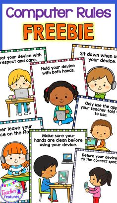 *FREEBIE* 7 Adorable technology rule posters to help your students remember best practices when handling iPads, Chromebooks and digital devices.