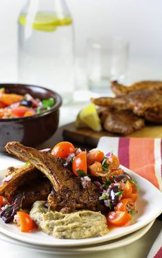 Marinated Lamb cutlets, eggplant puree and tomato olive salad from Irey's Kitchen.  This recipe has all my favourite foods in one, can't wait to try!