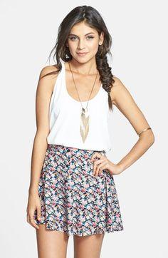 Lush Floral Print Skater Skirt