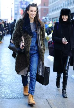 Tommy Ton Shoots Street Style at the Fall 2014 Fashion Shows - models off duty w/ smartphone