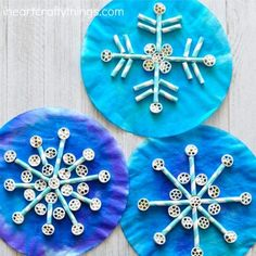 Painted Coffee Filters Pinwheel Pasta And Paper Straws Come Together To Create Awesome Texture In This Fun Kids Snowflake Craft Great Winter