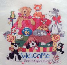 Bucilla Counted Cross Stitch Kit Room For One More Linda Gillum 42855 Dogs Cats #Bucilla #14x14Aida