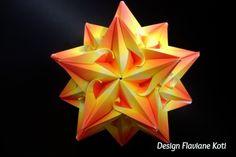 Origami modular Estrela do Mar. Autoria e dobra por Flaviane Koti