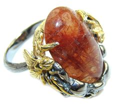 $62.95 Himalayan+AAA+Golden+Rutilated+Quartz,+Two+Tones+Sterling+Silver+Ring+s.+7+1/4 at www.SilverRushStyle.com #ring #handmade #jewelry #silver #rutilatedquartz