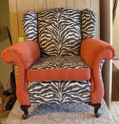 zebra with terracotta accents arm chair.#upholstery #chair #interiordesign #modern #funky