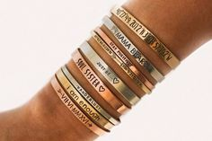 She Believed She Could So She Did, Personalized Cuff Bracelet + Custom Jewelry + Engraved Bracelet + Bracelet Quotes, Name Bracelet, Sister Bracelet, Initial Bracelet, Bracelets Fins, Stacking Bracelets, Layering Bracelets, Youre My Person, Engraved Bracelet