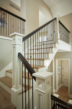 New Staircase, Staircase Remodel, Staircase Makeover, Staircase Railings, Staircase Design, Stairways, Staircase Ideas, Banisters, Iron Stair Railing