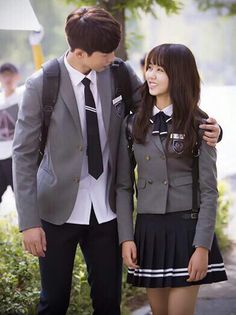 Who Are You: School 2015 School Uniform Outfits, Cute School Uniforms, School Dresses, Korean Uniform School, Who Are You School 2015, Moorim School, Kim Sohyun, Drama School, Korean Couple