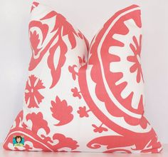 Decorative Pillow, PILLOW COVER, Choose 14 16 18 20 24 ,Euro, Sham, Lumbar, Premier Fabric, Coral, Suzani, Coral Pillow    This listing is for one pillow covers. Fabric on back matches the front and the cover has an envelope enclosure. Cover is made to fit the pillow form. Made from a very nice medium weight home decor fabric.    Custom Made Pillow Covers  Premier Fabrics Home Decor Fabric  Medium Weight Home Decor Fabric  100% Cotton  Envelope Opening for easy use  Envelope Opening is…