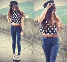 Topshop Top, Choies Cap, H Belt, Udobuy White Creepers