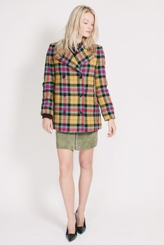 Short check Jacket - Multicolor by MAUD Check Coat, 60s Mod, Clueless, Twiggy, Coats, Yellow, Sweaters, Jackets, Dresses