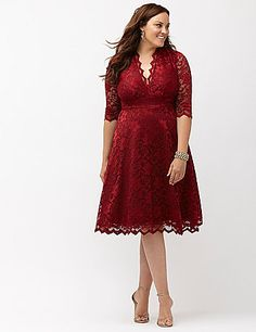 Mademoiselle dress by Kiyonna inspires endless compliments in soft stretch lace and a curve-loving silhouette. The surplice neckline and banded waist define the fit, with sheer elbow sleeves. Pull-on style. Fully lined.  lanebryant.com
