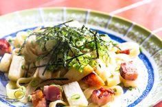#今日の朝ごはん  ベーコンと長芋のしじみ醤油フィットチーネ。 いろんな食感のコントラストが楽しいパスタ(*´∀`) - Shugo Kuwabara (しゅう) - Google+