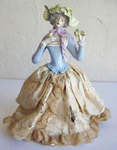 Antique German Porcelain Bisque Victorian Lady Half Doll with Silk Skirt | eBay