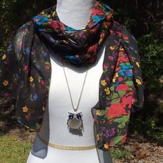 New Black Floral Print Scarf This is a colorful scarf that will perk up any outfit. Thin enough for spring and summer 18 inches wide and 69 inches long. Accessories Scarves & Wraps