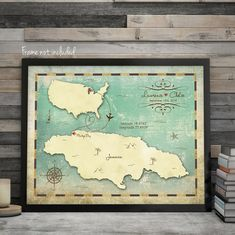 Show your travels between the United States and Jamaica with this beautiful vintage wedding map - if youd like another country please message me first to set up a custom listing. Highlight wedding dates, travel destinations from any state in the US to anywhere in Jamaica. You choose and Ill work with you to create the perfect piece. Perfect as a wedding guest book alternative or just a lovely wedding piece to hang in your home.  If you would like to alter this map please contact me first…