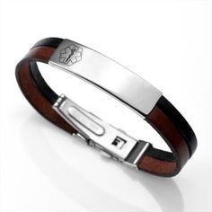 Black and Brown Italian Leather and Stainless Steel Medical ID Bracelet
