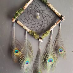 Wood dreamcatcher with peacock feathers Peacock Feathers, Dreamcatchers, Etsy Seller, Create, Wood, Unique, Handmade, Painting, Dream Catchers
